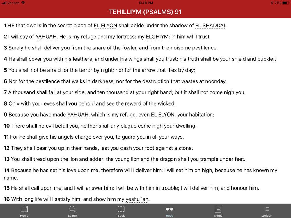 Psalms 91 – Restored NamesBibles